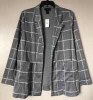 Lane Bryant Women Plus Size 14/16 Gray White Open Front Jacket w/Pockets NWT $80