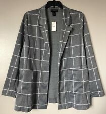 Lane Bryant Women Plus Size 14/16 Gray White Open Front Jacket w/Pockets NWT $80