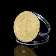 40mm Gold Plate Bitcoin Coin Collectible Gift BTC Coin Art Collection PhysicalEv