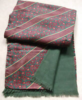 DARK GREEN RED WINE PAISLEY VINTAGE SCARF THINLY WOOL LINED RETRO MOD 1970s
