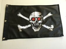 12x18 Pirate Red Eyes Jolly Roger Flag Skull and Crossbones Boat 12x18 Flag 25