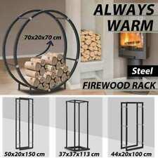 vidaXL Firewood Rack with/without Base Black Steel Log Holder Multi Sizes