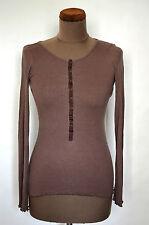 WANG women's brown top t-shirt Size M long sleeve crew neck soft silk cotton