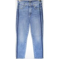 $229 7 For All Mankind Edie - High Waist Crop Straight Leg with Side Stripe - 27