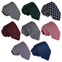 Mens Slim Tie Knit Knitted Solid Plain Pattern Check Stripe Polka Necktie by DQT