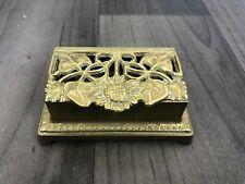 Authentic Vintage Stamp Dispenser Brass Art Nouveau Sunflower Design Desk Office
