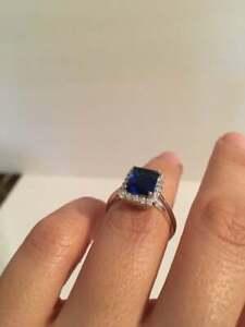 Rectangle Shape 4.16CT Navy Blue Sapphire & White CZ Halo Engagement Women Ring