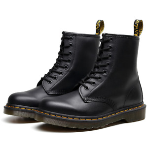 Men's Women's Shoes Dr. Martens 1460 8 Eye Leather Boots Black Smooth Lace Up US