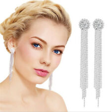 Silver Rhinestone Long Drop Earrings Diamante Bridal Party Tassel Dangle Crystal