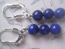 Lapis Lazuli Ohrhänger Sterlingsilber, Ohrhänger Silber mit Lapis Kugeln 6 mm