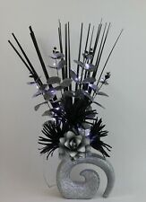 HANDMADE ARTIFICIAL SILK BLACK/ SILVER FLOWERS LED LIGHTS IN SILVER GLITTER VASE