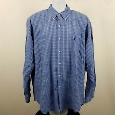 Ralph Lauren Blake 100% 2 Ply Cotton Mens Blue Check L/S Dress Button Shirt Sz L