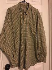 Men's Casual Button Down Long Sleeve Shirt by Eagle Khaki & Black Check Size XL