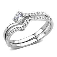 350 WEDDING ENGAGEMENT RING SET STAINLESS STEEL SIMULATED DIAMOND BRIDAL 2PCS