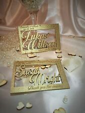 Personalised wooden wedding name place cards; flowers; anniversary. Set of 10.