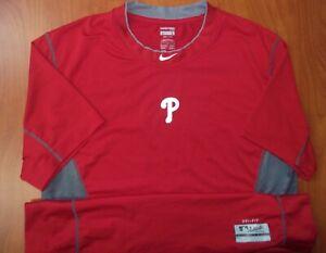 Nike Pro Cool MLB Philadelphia Phillies Baseball Dri-Fit Fitted On Field Shirt L