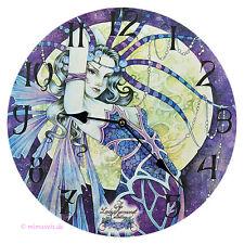 Wanduhr Bilderuhr Uhr Deko - Blue Moon blaue Elfe Fee Vollmond Mystic Fantasy