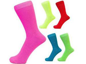 Mens Neon Teddy Socks Ankle Sock Size 6-11 UK 39-46 EUR 1 or 2 Pairs NEW