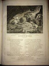 LA FONTAINE. LA COUR DU LION. FABLE ET GRAVURE 1834