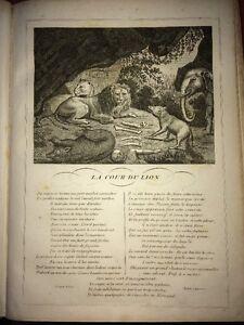 LA FONTAINE. LA COUR DU LION. FABLE ET GRAVURE,1834.