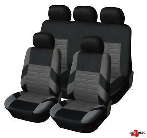 For Kia Hyundai Full Set Grey Car Seat Covers Soft Breathable Fabric Protectors