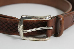 Johnston & Murphy Men Handcrafted Italian Leather Brown Belt Silver Buckle Sz 44