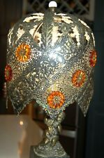 Beautiful Vintage Pair Of Boudoir Table Lamps W/Cherubs Filigree Shades