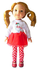 "For 14.5"" Wellie Wisher Doll Snowman Tutu Dress, Leggings & Glitter Shoes"