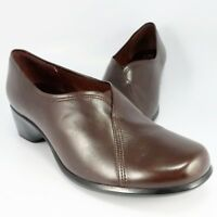Clarks Artisan Shooties Womens Size 8M Dark Brown Leather Loafers Slip-Ons Clogs