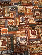 Wild Cats faces and names cotton quilt Fabric by yard RJR Dan Morris 44""