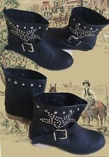 Boots, Stiefeletten mit Nieten u. Schnalle ,Western Look ,Schwarz, Gr.39