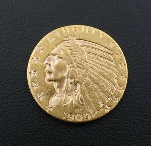 1909D $5 Dollar Indian Head Half Eagle Gold Coin Free Shipping Rare M1540