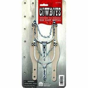 Toy Metal Western Cowboy Spurs Faux Leather Straps Costume Pretend Play New