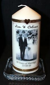 50th Wedding Anniversary  Congratulations  Personalised Photo Candle Gift  #1