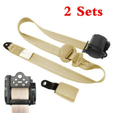 2 Sets Car Seat Belt Lap 3 Point Safety Travel Adjustable Retractable Auto Beige