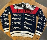 Le Tigre Sweater Men's Striped Zip Up 80's authentic knit New w Tags Med-Lrg-XL