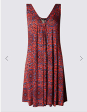 M & S COLLECTION RED MIX MEDALLION PRINT VEST SHIFT DRESS