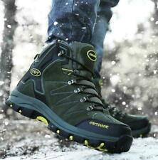 Mens Winter Warm Fur Lined Snow Boots Hiking Trail Waterproof High Top Shoes  sz