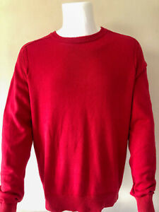 Tommy Hilfiger Men's Jumper size L red cotton crew neck large designer 3