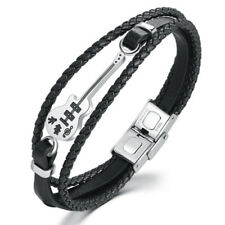 Stainless Steel Men'S Jewelry Leather Braided Bracelet Musical Instrument V L9L1