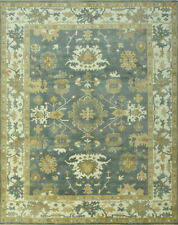 Oushak Rug, 8' x 10', Blue/Ivory, Hand-Knotted Wool Pile