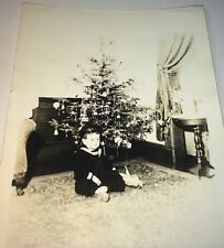 Antique / Vintage American Christmas Tree Holiday Little Navy boy Photo C.1940's