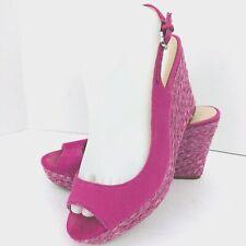 Franco Sarto Women Pink Canvas Slingback Open Toe Wedge Shoe SZ 8 M Rory Sandal