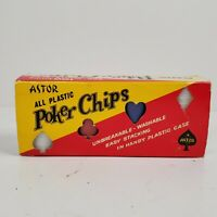 Vintage Astor Set Of 100 Red White Blue Round Poker Chips In Box  No. 19/1006