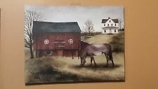 """THE OLD GREY MARE Picture Canvas, Billy Jacobs, 12"""" x 16"""", Horse, Barn,Farmhouse"""