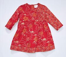 Hanna Andersson Floral Print Asian Kimono Style Wrap Red Dress, 80 (US 2T)