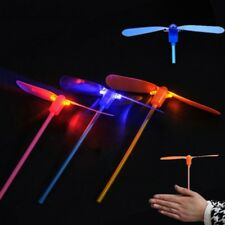 Led Lighting Flying Bamboo Dragonfly Propeller Kids Outdoor Hand Push Gifts Toy