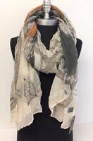Women Lady Pretty Long Soft Chiffon Scarf Wrap Shawl Stole Map Print Khaki