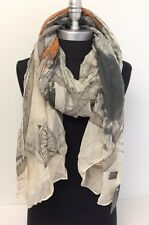Women Lady Pretty Long Soft Chiffon Scarf Wrap Shawl Stole Map Print Khaki