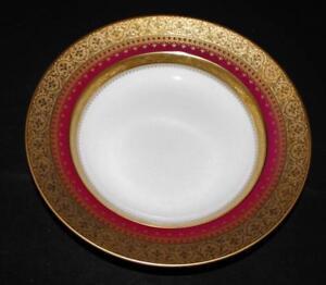 "Faberge IMPERIAL HERITAGE Burgundy Gold Encrusted, 9 1/4"" Wide Rimmed Soup Bowl"